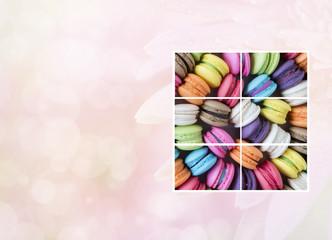 Photo frame of colorful macarons 1