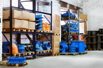 Fitting for Plastic pipes stacked in a warehouse yard use plumbing or sewage installations on construction site