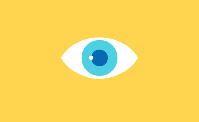 Vector eye symbol icon on flat background