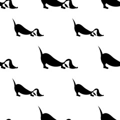 repeating pattern with dachshund silhouette on white background