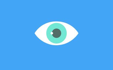 Vector eyes symbol icon on flat background