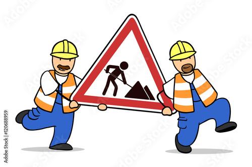 Baustelle schild clipart  Bauarbeiter tragen Schild zur Baustelle