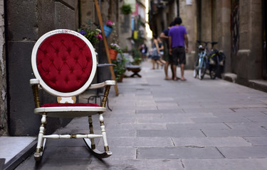 pedestrian street in the Born district, in Barcelona, Spain