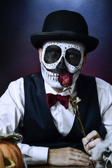 man with a mexican calaveras makeup
