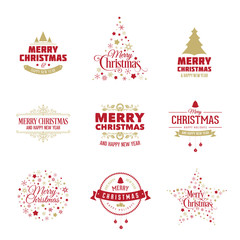 Vector Christmas design elements. Merry Christmas vintage labels, decoration, frames collection - card, banner, design.