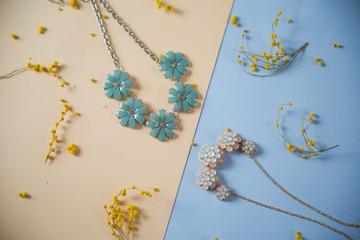 women's accessories on wooden background