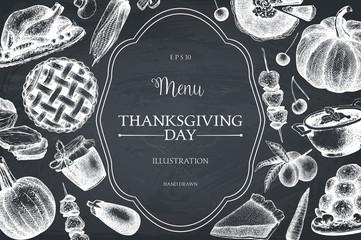 Vector menu design for Thanksgiving Day celebration. Vintage frame with hand drawn traditional food sketch. Autumn harvest festival decoration elements.