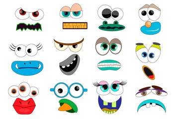 Party for Children - Funny Monsters. Mask, Photobooth Props. Monster Mouths and Eyes Set.