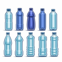 Vector Set logo blue Plastic Bottles with cap for mineral Water, collection of 10 full dark-blue liter container bottle with lid for drinking water or cool fizzy drink isolated on white background.