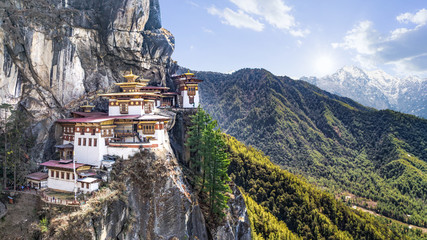 Taktshang Goemba or Tiger's nest Temple or Tiger's nest monastery the beautiful buddhist temple.The most sacred place in Bhutan is located on the high cliff mountain with sky of Paro valley, Bhutan. Wall mural