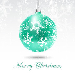 Christmas card with green ball in white, vector illustration. Snow flakes texture can be removed to have a clean decorated bauble