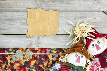 Blank sign with fall decor