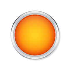 Orange round button with metallic border - Vector