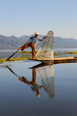 Traditional fisherman at Inle lake in Myanmar