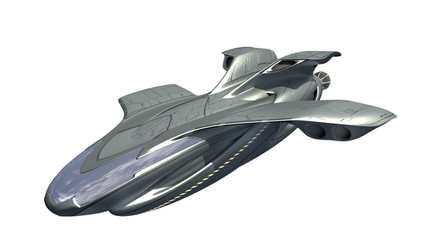 3d illustration of futuristic military spacecraft or surveillance drone for fantasy games, science fiction backgrounds or interstellar deep space travel, with the clipping path included in the file.