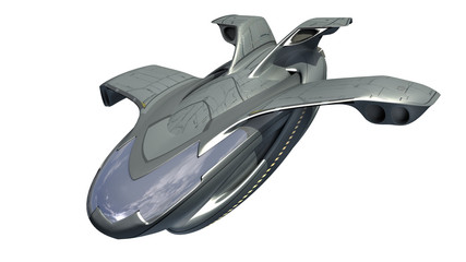 3d rendering of spacecraft design for science fiction backgrounds, interstellar deep space travel or futuristic military drone design for fantasy games, with the clipping path, included in the file.