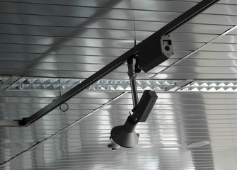 Rail system with follow spotlights for stage lighting