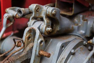 close up of vintage car hoist mechanism
