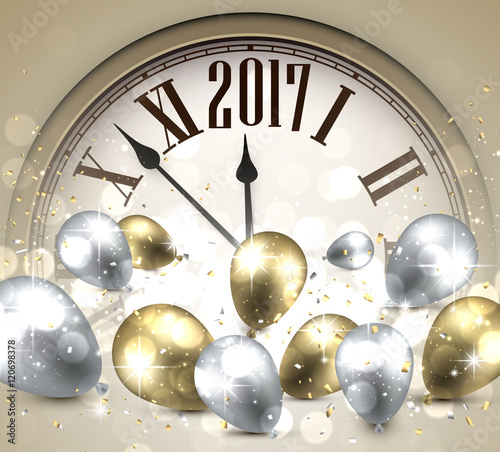 2017 New Year background with clock.\