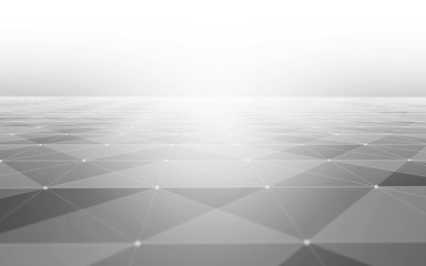 Abstract Polygonal Space Black and White Background with Low Poly Connecting Dots and Lines - Connection Structure - Futuristic HUD Background