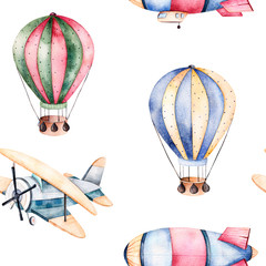 Seamless pattern with air balloons,airship and the plane in pastel colors.Watercolor air ballons beautifully decorated on white background and other aircrafts.Perfect for wallpaper,kids texture,gift