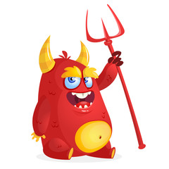 Cute devil monster. Vector cartoon