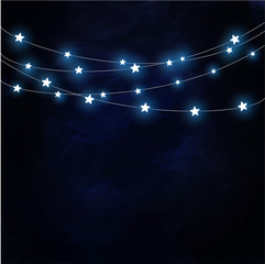 Dark background with hanging stars vector