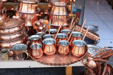 Traditional copper dishes in historical market (Bazaar) in Isfahan, Iran