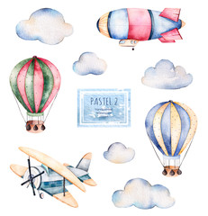 Watercolor collection with air balloons, clouds,airship and the plane in pastel colours.Handpainted air ballons beautifully decorated on white background,pastel clouds and others aircraft .Pastel set