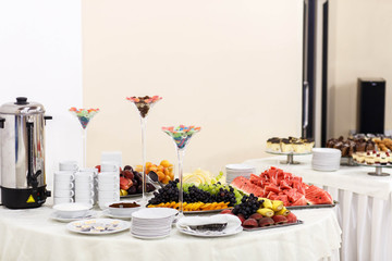beautiful and delicious buffet table for a wedding celebration