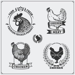 Collection of Chicken meat labels, badges, emblems and design elements.