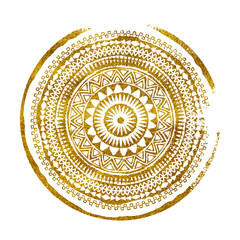 Mandala. Abstract round vector watercolor ornament. Tribal grunge gold texture