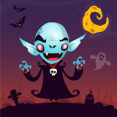 Cute cartoon vampire. Halloween vampire character isolated on dark background fith cemetery, ghost and moon. Great for card or poster