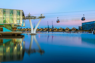 Thames cable car in London at sunet Wall mural