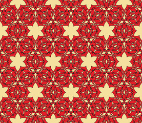 pattern in Russian hohloma style. Red and golden color. Vector illustration. Geometry style.