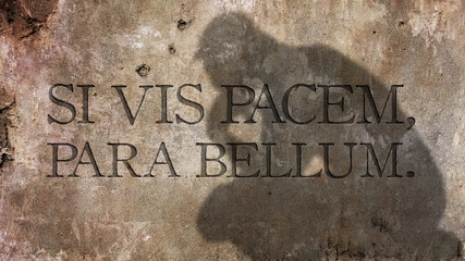 Si vis pacem, para bellum. A Latin adage translated as If you want peace, prepare for war.