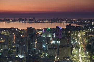 Kuwait, Kuwait City, Aerial over Corniche and Arabian Gulf