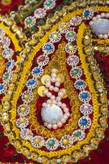 India, Rajasthan., Pushkar, Decoration on Camel  accessoriy at Pushkar Camel Fair