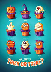 Halloween vintage vector poster. Trick or treat. Cakes with monsters