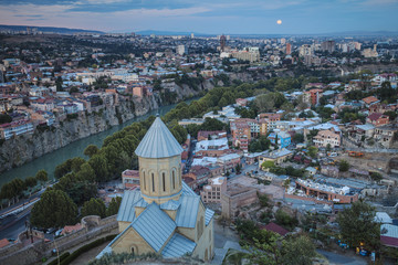 Georgia, Tbilisi, View of Narikala Fortress and St Nicholas church.