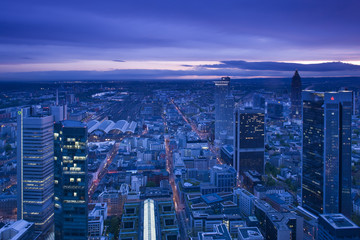 Germany, Hessen, Frankfurt-am-Main, view from the Main Tower, Financial District towers