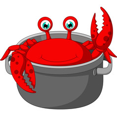 Cartoon funny crab being cooked in a pan