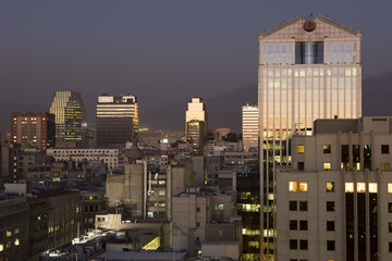 Chile, Santiago, central city skyline at dusk