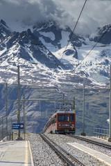 Gornergrat railway at Gornergrat summit, Switzerland