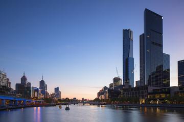 Eureka Tower and skyline along Yarra River at dawn, Melbourne, Victoria, Australia