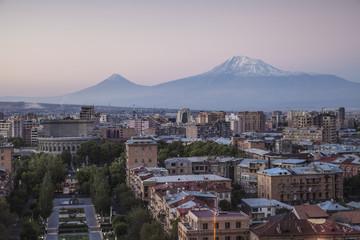 Armenia, Yerevan, View of Yerevan and Mount Ararat from Cascade