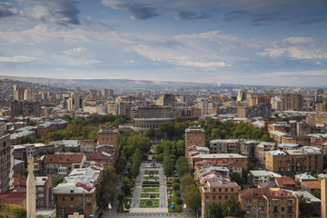 Armenia, Yerevan, View of Yerevan and Mount Ararat from Cascade