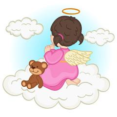 angel baby girl on  cloud - vector illustration, eps