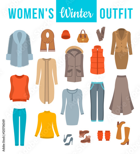 """""""Women winter clothes flat vector icons set. Must have ..."""