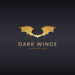 Dark wing logo. Wing logotype. Easy to edit, change size, color and text.